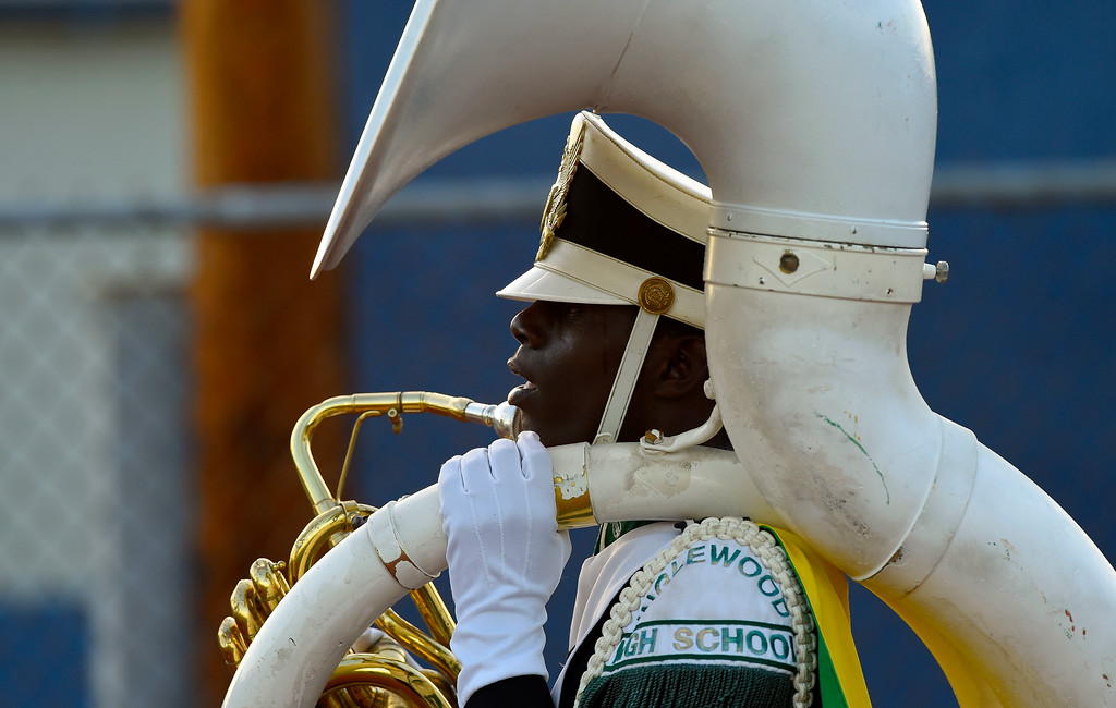 . A sousaphone player in the Inglewood High marching band marches onto the field before a preseason football game in Inglewood, CA on Thursday, September 14, 2017. (Photo by Scott Varley, Daily Breeze/SCNG)