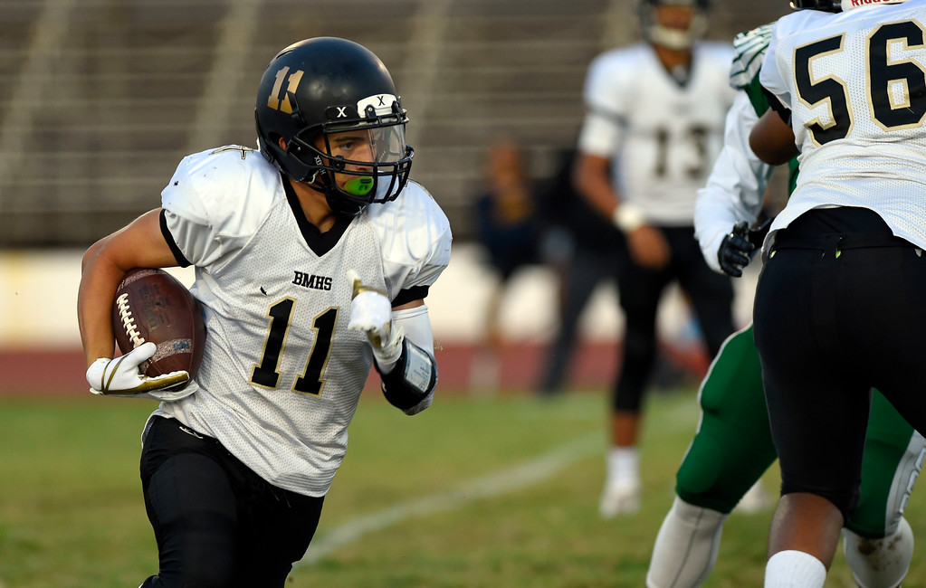 . Bishop�s Matthew Origel runs the ball before being tackled for a loss in Inglewood, CA on Thursday, September 14, 2017. Bishop Montgomery vs Inglewood preseason football. (Photo by Scott Varley, Daily Breeze/SCNG)