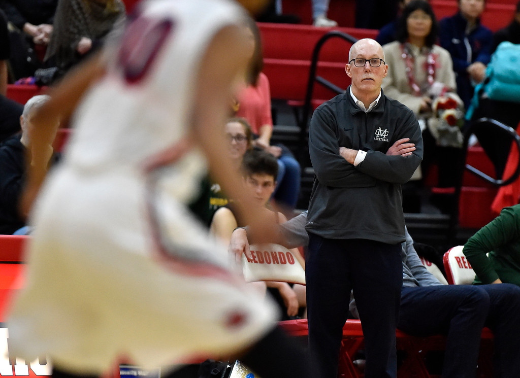 . Mira Costa coach John Lapham watches the action in Redondo Beach, CA on Thursday, February 9, 2017. Mira Costa girls basketball team came from behind to beat Redondo 44-41. (Photo by Scott Varley, Daily Breeze/SCNG)