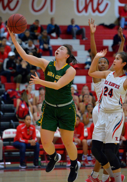 . Halle Maeda shoots for Mira Costa in Redondo Beach, CA on Thursday, February 9, 2017. Mira Costa girls basketball team came from behind to beat Redondo 44-41. (Photo by Scott Varley, Daily Breeze/SCNG)