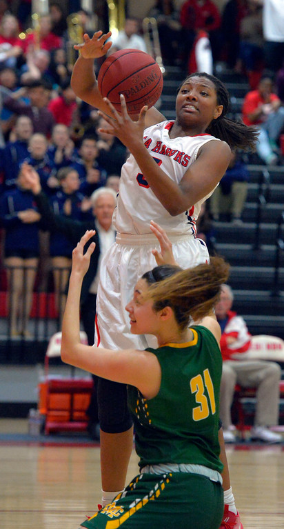 . Redondo�s Daylan Bonner, top, and Mira Costa�s Allie Navarette battle for the ball in Redondo Beach, CA on Thursday, February 9, 2017. Mira Costa girls basketball team came from behind to beat Redondo 44-41. (Photo by Scott Varley, Daily Breeze/SCNG)
