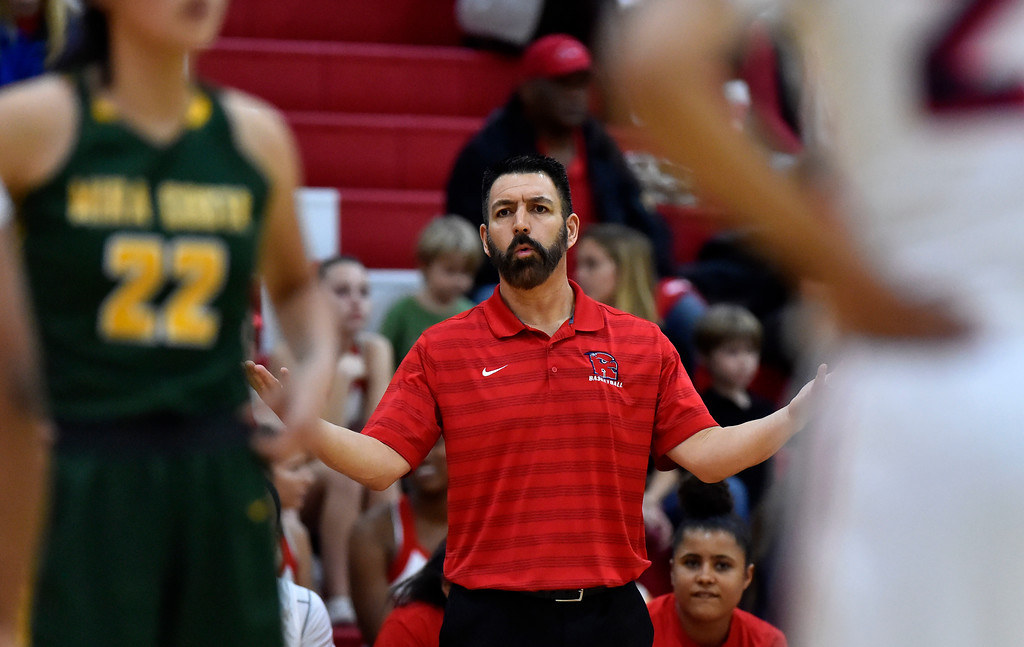 . Redondo coach Marcelo Enriquez questions one of his players in Redondo Beach, CA on Thursday, February 9, 2017. Mira Costa girls basketball team came from behind to beat Redondo 44-41. (Photo by Scott Varley, Daily Breeze/SCNG)