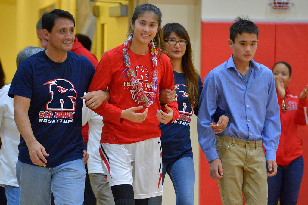 . Redondo Union�s senior players are recognized before their game in Redondo Beach, CA on Thursday, February 9, 2017. Mira Costa girls basketball team came from behind to beat Redondo 44-41. (Photo by Scott Varley, Daily Breeze/SCNG)
