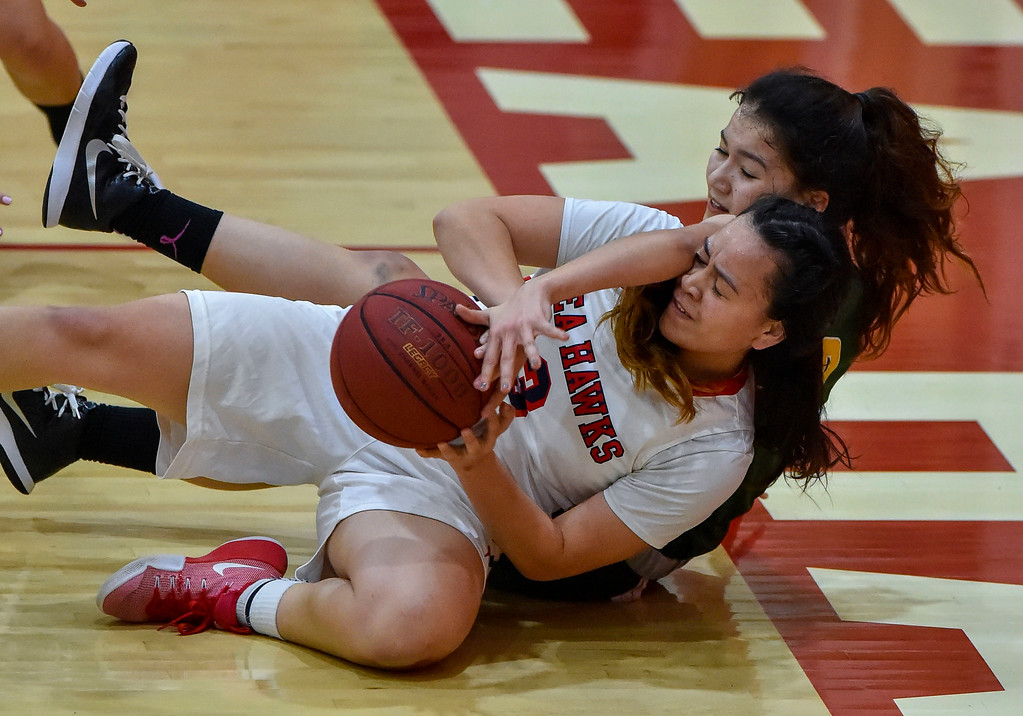 . Redondo�s Daylan Bonner, front, and Costa�s Kira Escovar get tangled up on a loose ball in Redondo Beach, CA on Thursday, February 9, 2017. Mira Costa girls basketball team came from behind to beat Redondo 44-41. (Photo by Scott Varley, Daily Breeze/SCNG)