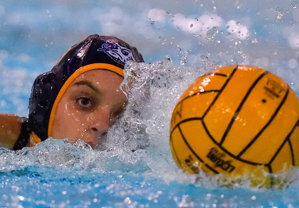 . Millikan�s Farrah Martin moves the ball up the pool in Long Beach, CA on Tuesday, February 14, 2017. Millikan beat Pacifica of Oxnard 14-7 in the opening round of the CIF Southern Section Division 5 girl\'s water polo playoffs. (Photo by Scott Varley, Press-Telegram/SCNG)
