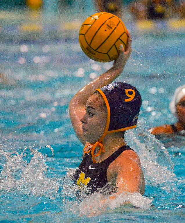 . Sophie Garcia takes a shot at the goal for Millikan in Long Beach, CA on Tuesday, February 14, 2017. Millikan beat Pacifica of Oxnard 14-7 in the opening round of the CIF Southern Section Division 5 girl\'s water polo playoffs. (Photo by Scott Varley, Press-Telegram/SCNG)