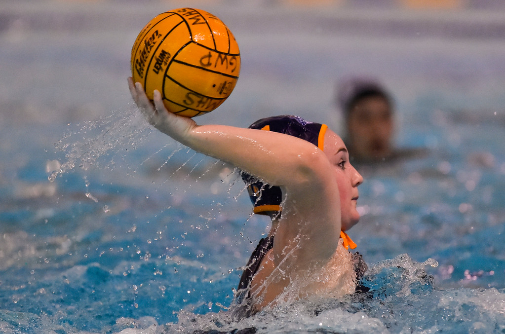. Alix Anderson takes a shot for Millikan in Long Beach, CA on Tuesday, February 14, 2017. Millikan beat Pacifica of Oxnard 14-7 in the opening round of the CIF Southern Section Division 5 girl\'s water polo playoffs. (Photo by Scott Varley, Press-Telegram/SCNG)