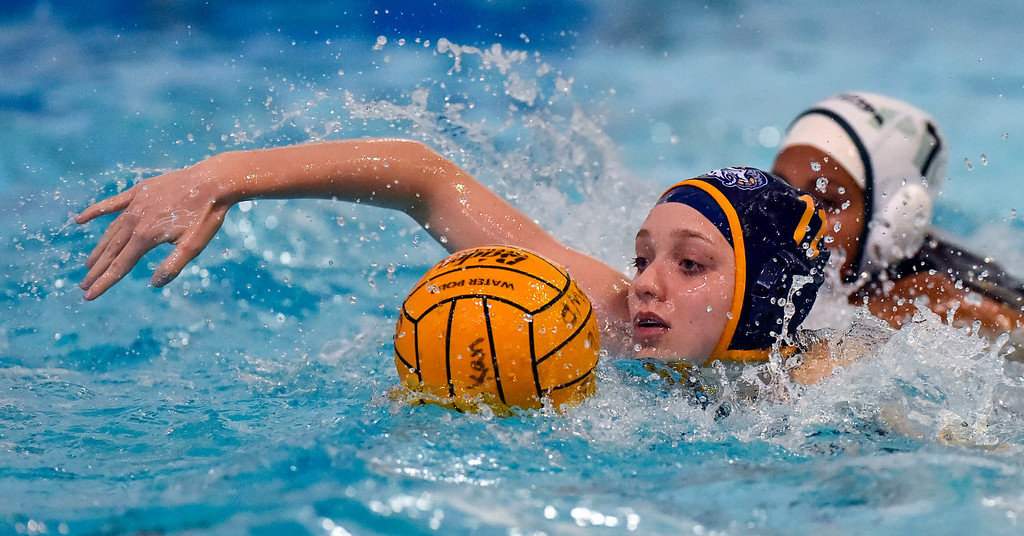 . After a turnover, Millikan�s Sophia Sussman sprints with the ball up the pool in Long Beach, CA on Tuesday, February 14, 2017. Millikan beat Pacifica of Oxnard 14-7 in the opening round of the CIF Southern Section Division 5 girl\'s water polo playoffs. (Photo by Scott Varley, Press-Telegram/SCNG)