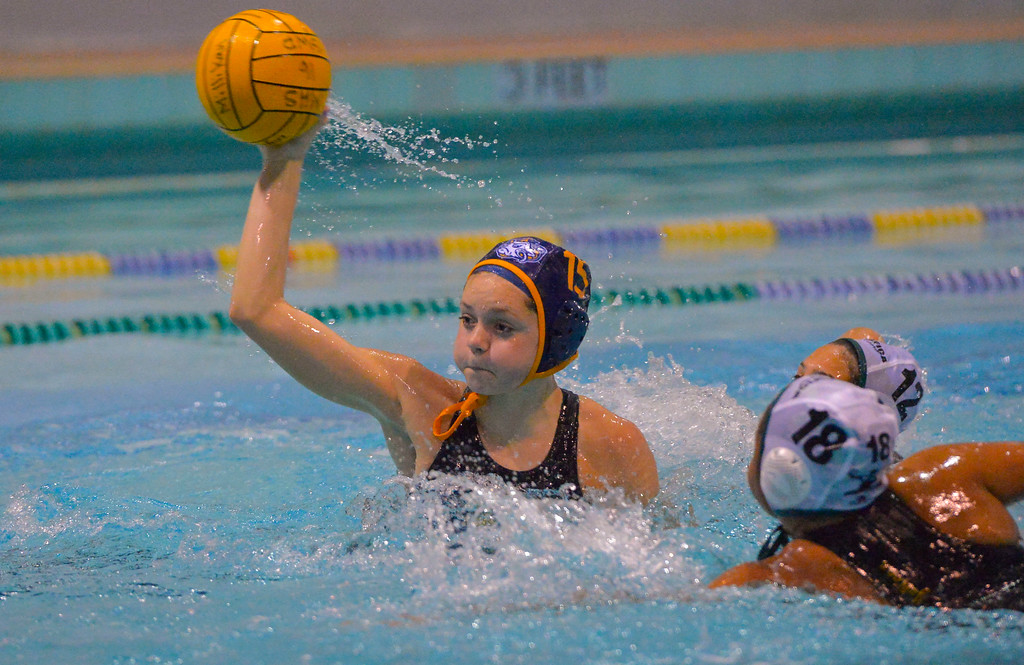 . Grace Arnsparger scores a goal for Millikan in Long Beach, CA on Tuesday, February 14, 2017. Millikan beat Pacifica of Oxnard 14-7 in the opening round of the CIF Southern Section Division 5 girl\'s water polo playoffs. (Photo by Scott Varley, Press-Telegram/SCNG)