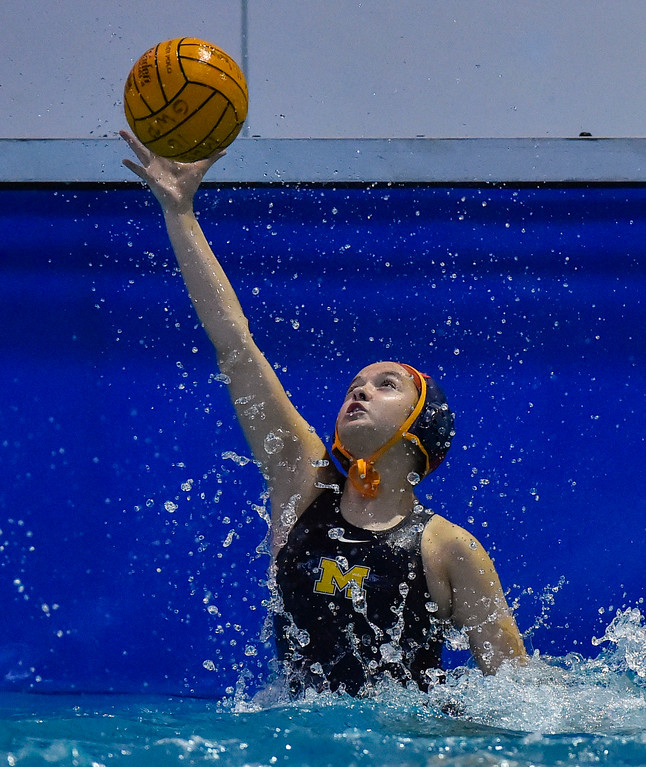 . A Pacifica shot just goes over the reach of Millikan goalie Jayna Kaveney for a goal in Long Beach, CA on Tuesday, February 14, 2017. Millikan beat Pacifica of Oxnard 14-7 in the opening round of the CIF Southern Section Division 5 girl\'s water polo playoffs. (Photo by Scott Varley, Press-Telegram/SCNG)