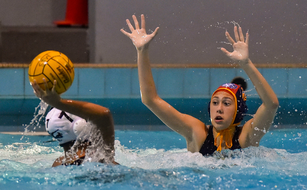 . Millikan goalie Alexa Ramirez comes far away from her goal to try to block a shot by Pacifica�s Mariana Peralta in Long Beach, CA on Tuesday, February 14, 2017. Peralta�s shot fell short of the open goal. Millikan beat Pacifica of Oxnard 14-7 in the opening round of the CIF Southern Section Division 5 girl\'s water polo playoffs. (Photo by Scott Varley, Press-Telegram/SCNG)
