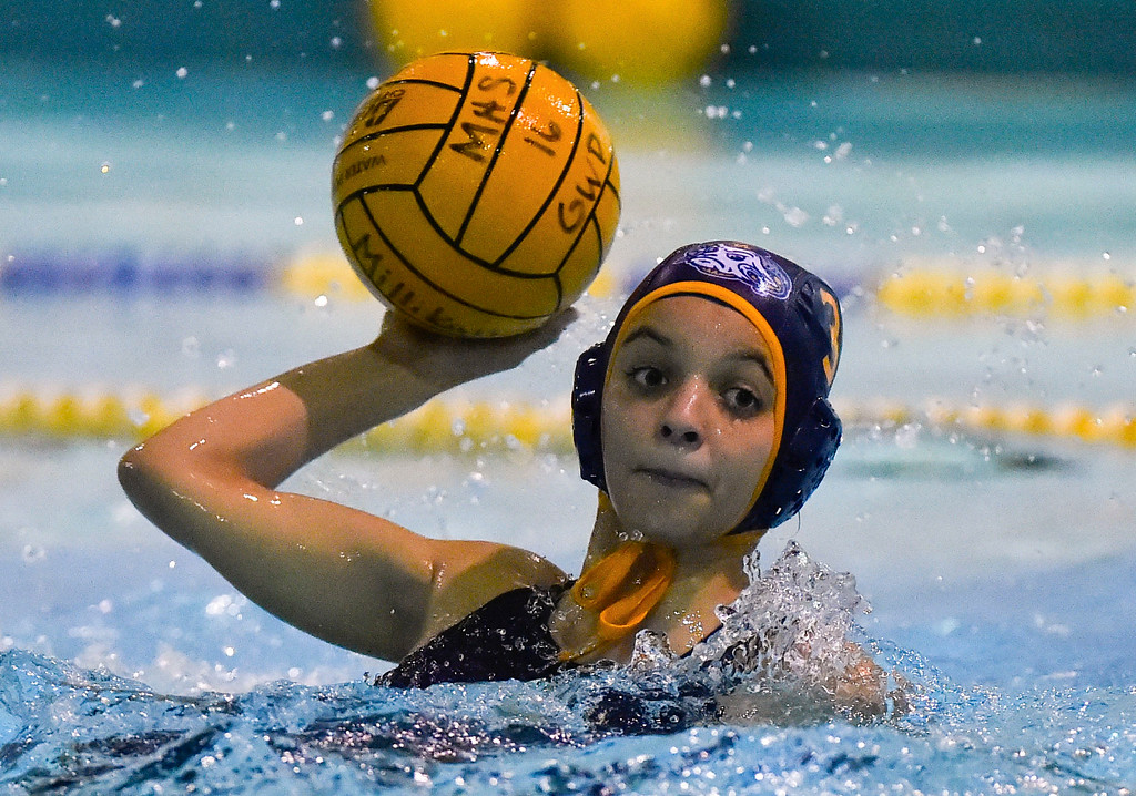 . Farrah Martin scores a goal for Millikan in Long Beach, CA on Tuesday, February 14, 2017. Millikan beat Pacifica of Oxnard 14-7 in the opening round of the CIF Southern Section Division 5 girl\'s water polo playoffs. (Photo by Scott Varley, Press-Telegram/SCNG)