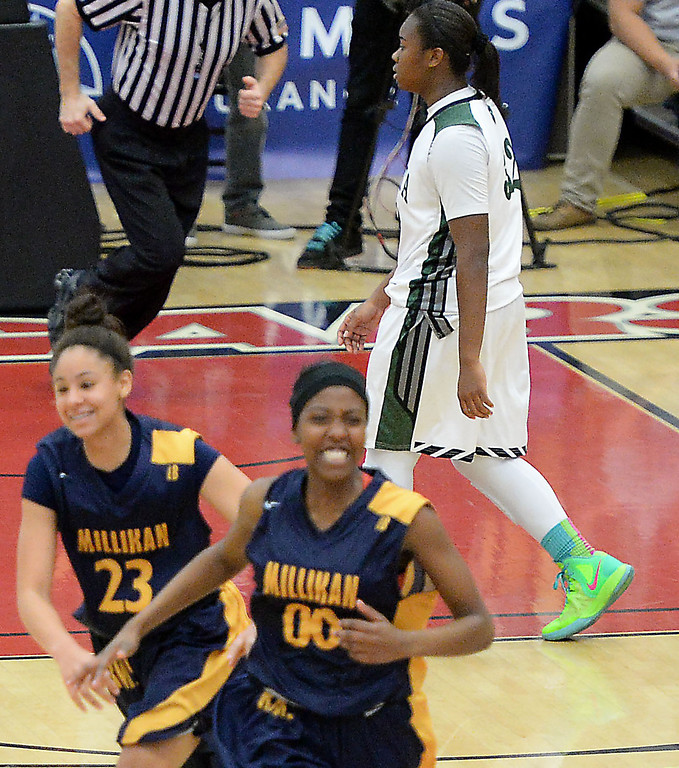 . Bonita\'s Kandyce Smith walks off court after Millikan won 56-53 in the CIF Southern Section Division 1-AA girls basketball final at Azusa Pacific University in Azusa, CA. on Saturday March 8, 2014. (Photo by Sean Hiller/ Daily Breeze).