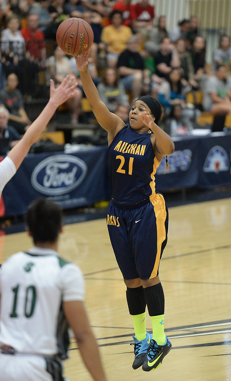 . Millikan\'s Kaylin Ellis shoots against Bonita in the CIF Southern Section Division 1-AA girls basketball final at Azusa Pacific University in Azusa, CA. on Saturday March 8, 2014. (Photo by Sean Hiller/ Daily Breeze).