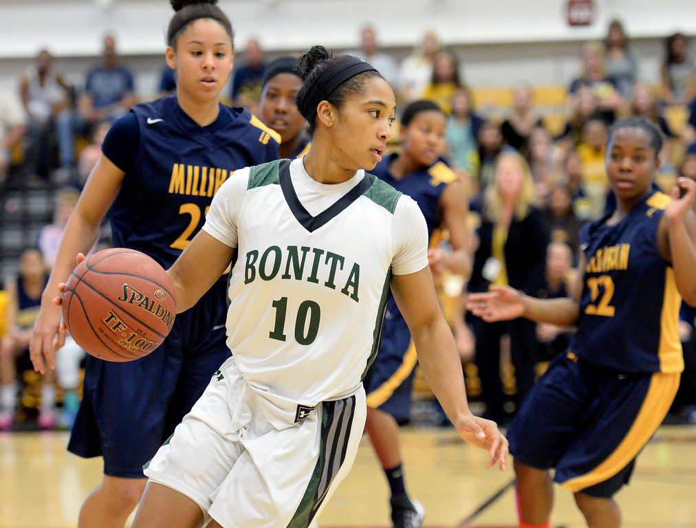. Nikki Wheatley of Bonita looks for an open teammate in the CIF Southern Section Division 1-AA girls basketball final at Azusa Pacific University in Azusa, CA. on Saturday March 8, 2014. (Photo by Sean Hiller/ Daily Breeze).