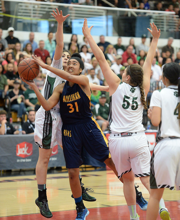 . Millikan\'s Alyssa Benton battles Bonita\'s Sam Naanouh,left, and Jenna Gonzales in the CIF Southern Section Division 1-AA girls basketball final at Azusa Pacific University in Azusa, CA. on Saturday March 8, 2014. (Photo by Sean Hiller/ Daily Breeze).