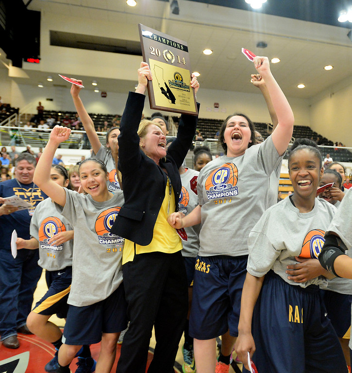 . Millikan\'s Coach Lorene Morgan celebrates with her team after beating Bonita 56-53 in the CIF Southern Section Division 1-AA girls basketball final at Azusa Pacific University in Azusa, CA. on Saturday March 8, 2014. (Photo by Sean Hiller/ Daily Breeze).