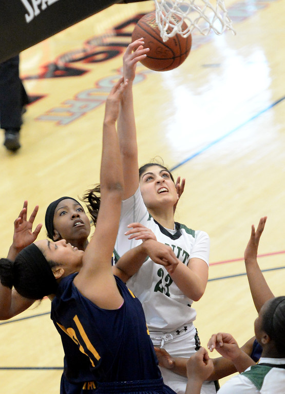 . Millikan\'s Kaylin Ellis , left, guards Bonita\'s Esthere Franks in the  56-53 Bonita loss in the CIF Southern Section Division 1-AA girls basketball final at Azusa Pacific University in Azusa, CA. on Saturday March 8, 2014. (Photo by Sean Hiller/ Daily Breeze).