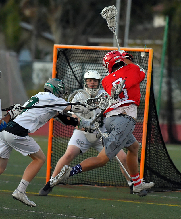 . PV�s John Gressett takes a shot on goal in Manhattan Beach, CA on Thursday, April 20, 2017. Bay League boys lacrosse match - Palos Verdes vs Mira Costa. (Photo by Scott Varley, Daily Breeze/SCNG)