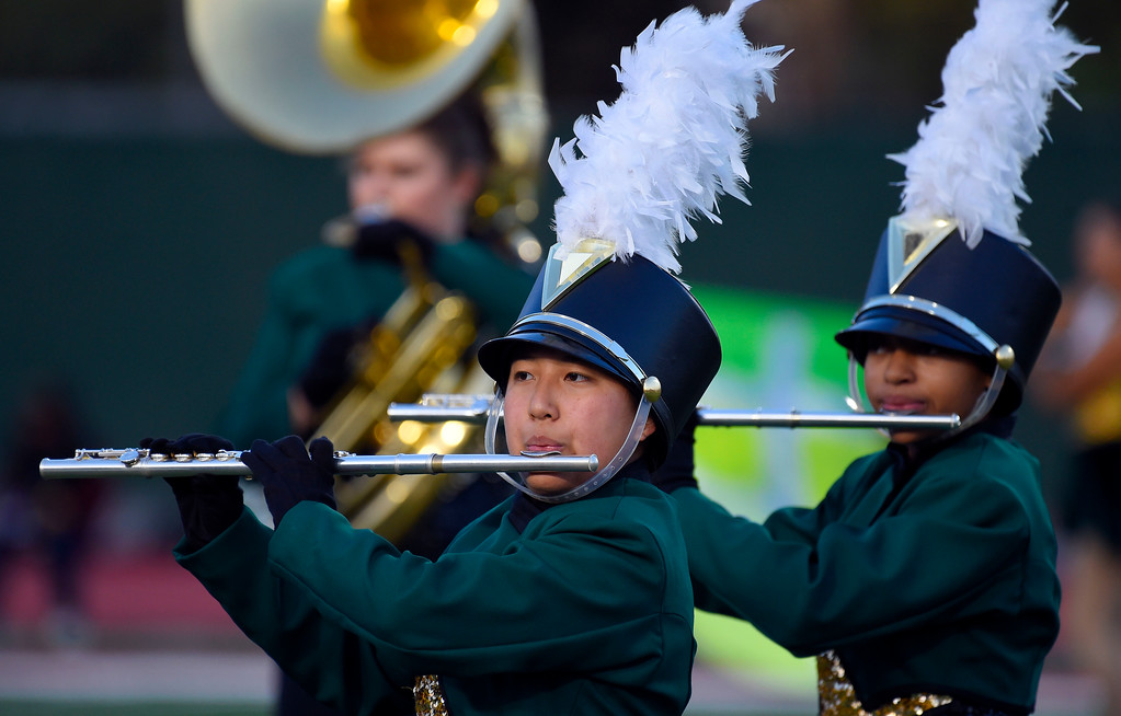 . Poly High Marching Unit performs before the game in Long Beach on Friday, September 15, 2017. Mission Viejo vs Long Beach Poly preseason football at Veterans Stadium. (Photo by Scott Varley, Press-Telegram)