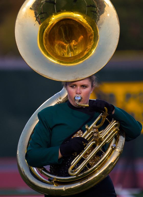 . Poly sousaphone player performs in Long Beach on Friday, September 15, 2017. Mission Viejo vs Long Beach Poly preseason football at Veterans Stadium. (Photo by Scott Varley, Press-Telegram)