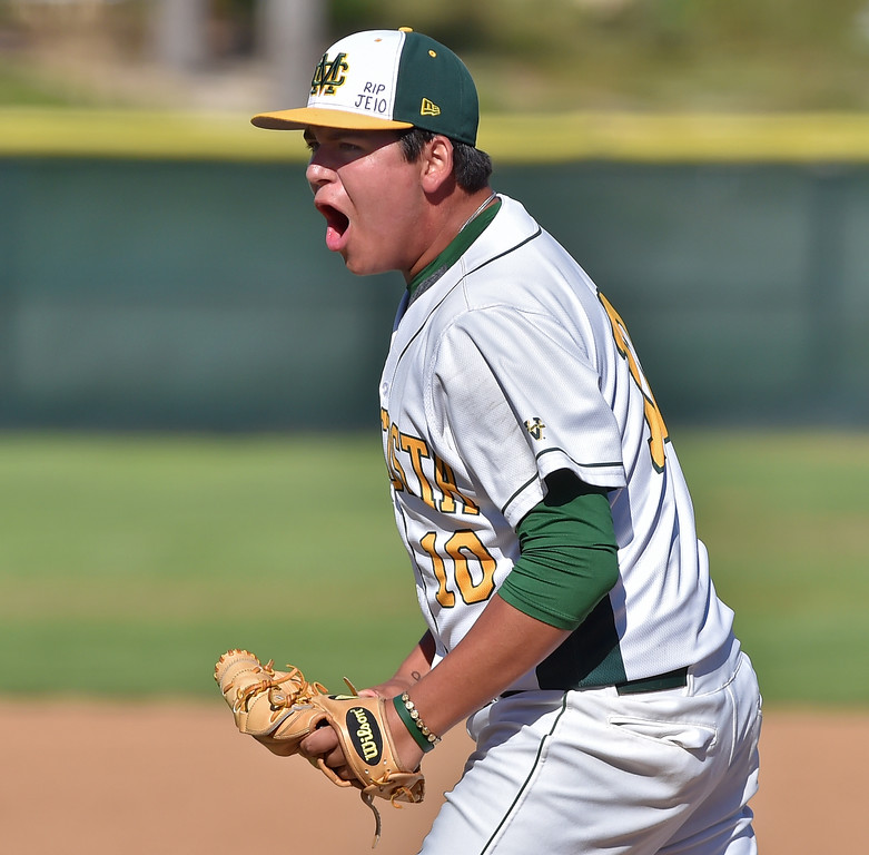 . Mira Costa beat visiting San Dimas 7-3 in CIF Southern Section Div 2 baseball playoff game played Friday May 19, 2017. Mira Costa pitcher Christian Bodlovich celebrates a called strike to end inning. Photo By  Robert Casillas, Daily Breeze/ SCNG