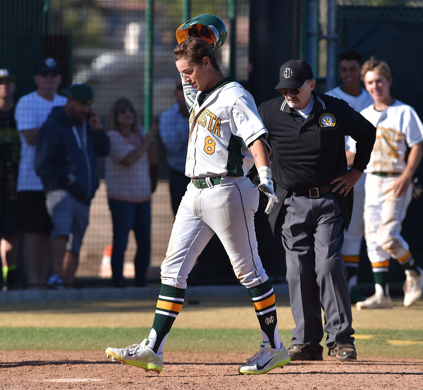 . Mira Costa beat visiting San Dimas 7-3 in CIF Southern Section Div 2 baseball playoff game played Friday May 19, 2017. Matt Beserra touches plate after solo homer. Photo By  Robert Casillas, Daily Breeze/ SCNG