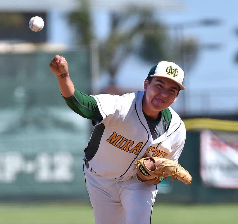 . Mira Costa beat visiting San Dimas 7-3 in CIF Southern Section Div 2 baseball playoff game played Friday May 19, 2017. Christian Bodlovich picked up the win for Mira Costa. Photo By  Robert Casillas, Daily Breeze/ SCNG