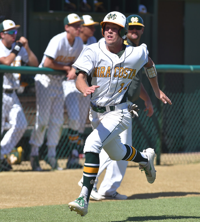 . Mira Costa beat visiting San Dimas 7-3 in CIF Southern Section Div 2 baseball playoff game played Friday May 19, 2017. Kohl Titzler races home to score. Photo By  Robert Casillas, Daily Breeze/ SCNG
