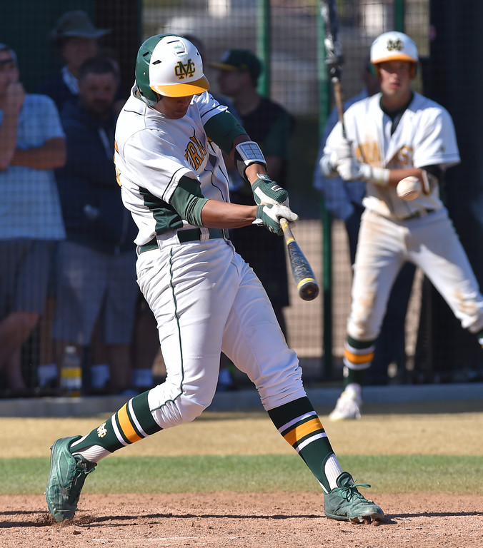 . Mira Costa beat visiting San Dimas 7-3 in CIF Southern Section Div 2 baseball playoff game played Friday May 19, 2017. Joey Acosta broke a 2-2 tie with this three run homer in the fourth inning. Photo By  Robert Casillas, Daily Breeze/ SCNG