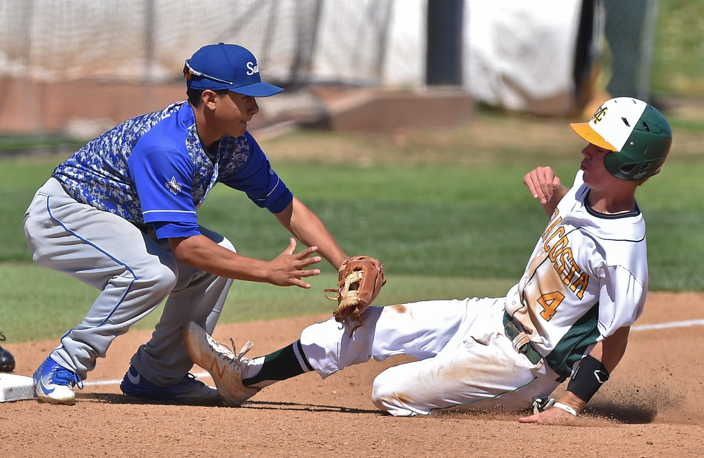 . Mira Costa beat visiting San Dimas 7-3 in CIF Southern Section Div 2 baseball playoff game played Friday May 19, 2017. Chase Meidroth is tagged out at third. Photo By  Robert Casillas, Daily Breeze/ SCNG