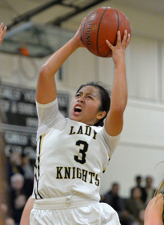 . Bishop\'s Jessica Malazarte drive to the basket in Torrance, CA on Thursday, February 16, 2017. Bishop Montgomery Lady Knights defeated South Spartans 69-52 in the first round of CIF-SS Div 1A girls basketball playoffs. (Photo by Scott Varley, Daily Breeze)