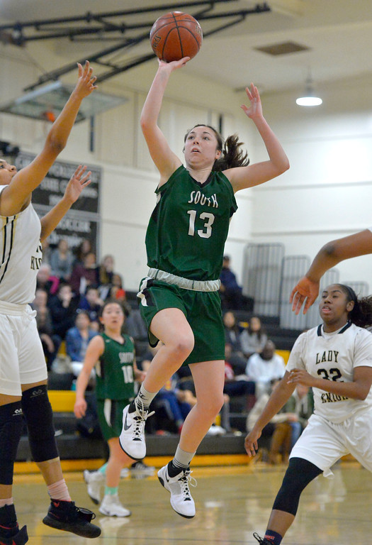 . Katelyn Martin sinks a basket for South in Torrance, CA on Thursday, February 16, 2017. Bishop Montgomery Lady Knights defeated South Spartans 69-52 in the first round of CIF-SS Div 1A girls basketball playoffs. (Photo by Scott Varley, Daily Breeze)