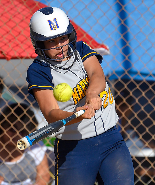 . Mary Star�s Gianna Fletcher connects for an RBI in the 7th inning in Long Beach on Wednesday, April 12, 2017. St. Anthony beat Mary Star 4-3. (Photo by Scott Varley, Press-Telegram/SCNG)