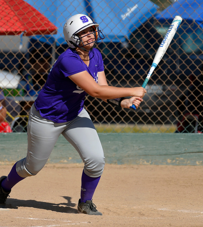 . St. Anthony�s Brooke Townsend connects for an RBI in Long Beach on Wednesday, April 12, 2017. St. Anthony beat Mary Star 4-3. (Photo by Scott Varley, Press-Telegram/SCNG)