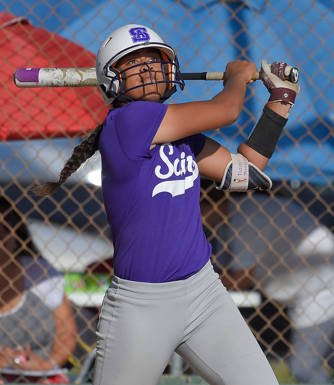 . St. Anthony�s Tiare Jennings watches her batted ball fly to right field and score the winning run in Long Beach on Wednesday, April 12, 2017. St. Anthony beat Mary Star 4-3. (Photo by Scott Varley, Press-Telegram/SCNG)