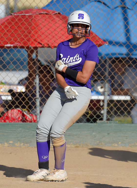 . St. Anthony�s Thessa Malau�ulu stomps on home plate as she scores the winning run in Long Beach on Wednesday, April 12, 2017. St. Anthony beat Mary Star 4-3. (Photo by Scott Varley, Press-Telegram/SCNG)