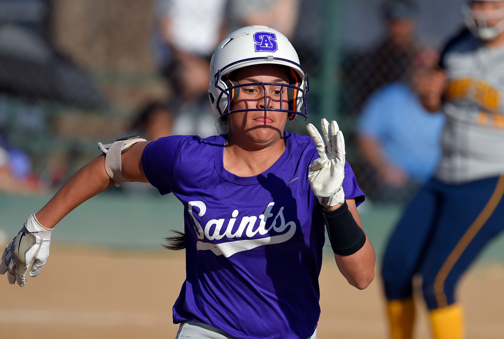 . St. Anthony�s Thessa Malau�ulu beats the throw to first base in the 7th inning in Long Beach on Wednesday, April 12, 2017. Malau�ulu eventually scored the game-winning run. St. Anthony beat Mary Star 4-3. (Photo by Scott Varley, Press-Telegram/SCNG)