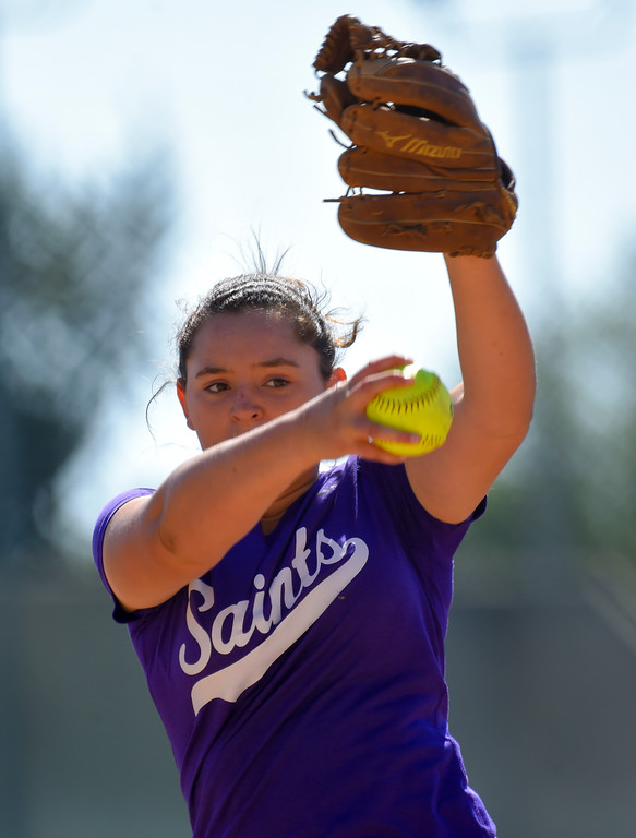 . St. Anthony pitcher Brooke Townsend in Long Beach on Wednesday, April 12, 2017. St. Anthony beat Mary Star 4-3. (Photo by Scott Varley, Press-Telegram/SCNG)