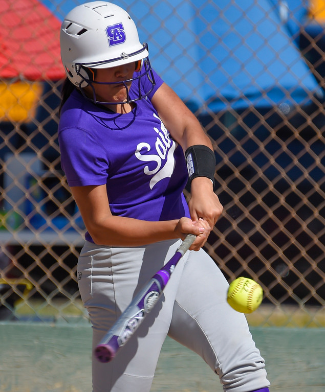 . St. Anthony�s Chloe Malau�ulu connects for a 1st inning homerun in Long Beach on Wednesday, April 12, 2017. St. Anthony beat Mary Star 4-3. (Photo by Scott Varley, Press-Telegram/SCNG)