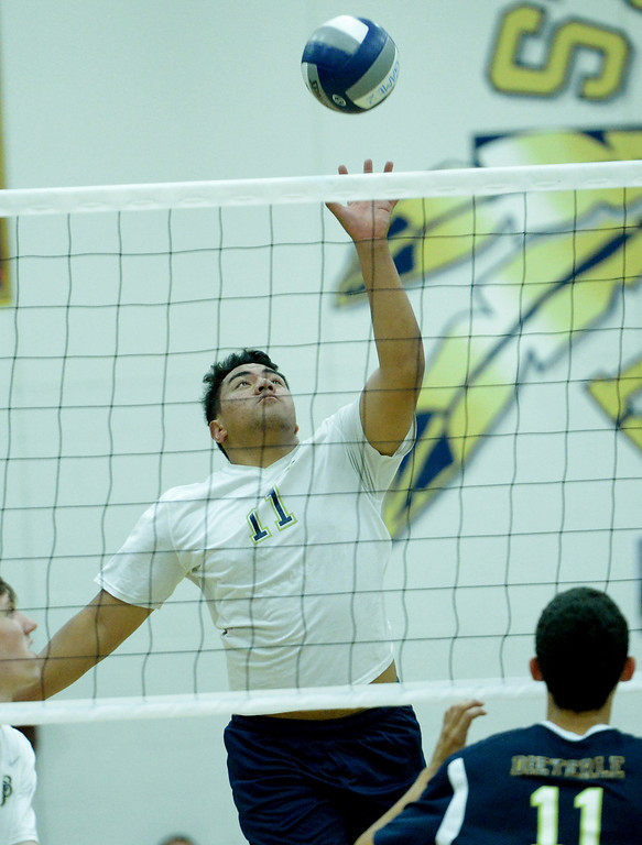 . St. John Bosco\'s Jacob Tuioti Mariner keeps the ball in play against  West Ranch in the CIF-SS Division 1 Boys\' Volleyball Playoff game in Bellflower, CA. on Tuesday May 13, 2014. (Photo by Sean Hiller/ Daily Breeze).