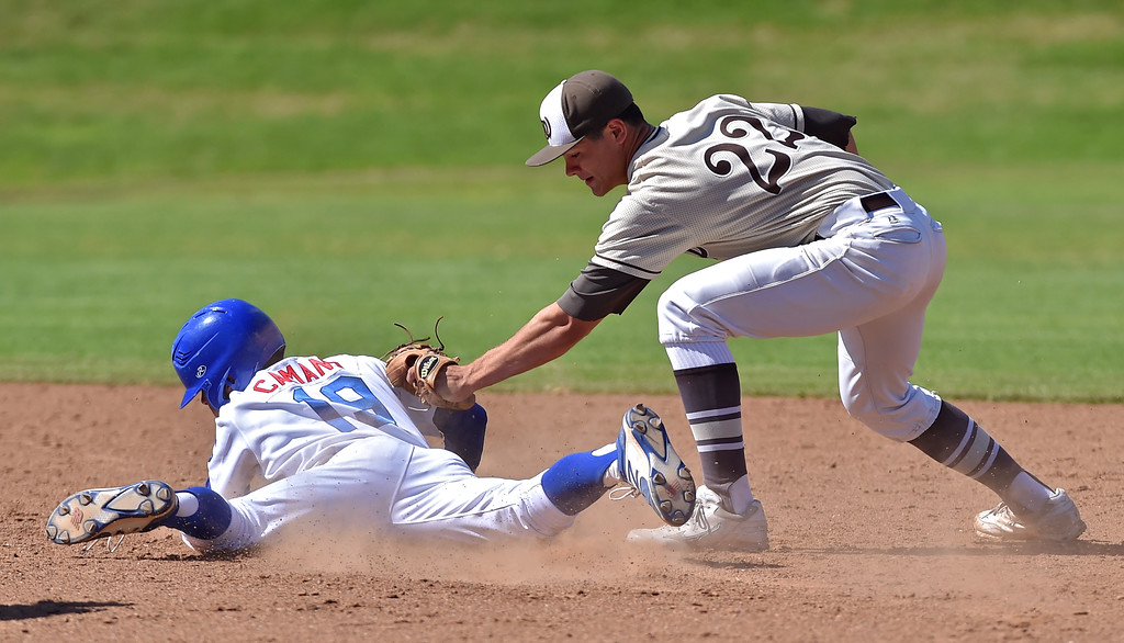 . El Segundo beat visiting West Torrance 6-3 in first round CIF Southern Section Division 3 baseball playoffs Thursday May 18, 2017. Mateo Camano is safe at second after tag by Daniel Parr.  Photo By  Robert Casillas, Daily Breeze/ SCNG