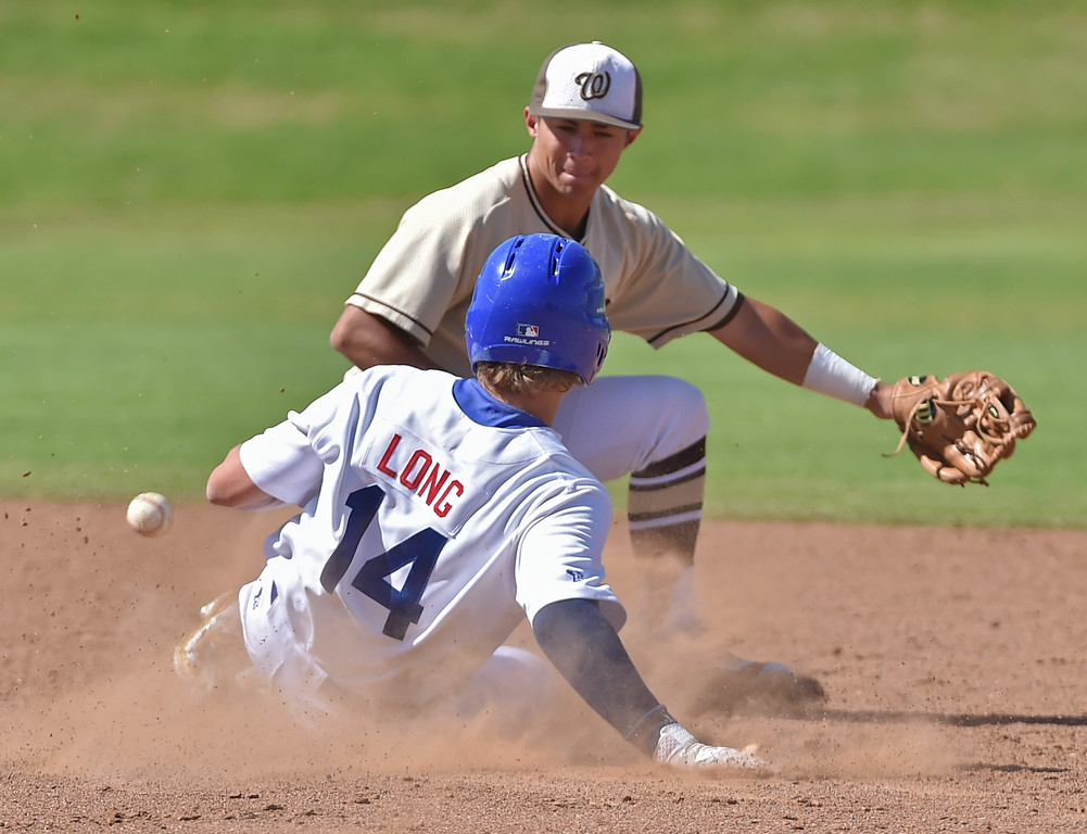 . El Segundo beat visiting West Torrance 6-3 in first round CIF Southern Section Division 3 baseball playoffs Thursday May 18, 2017. Spencer Long steals second as ball eludes West\'s Kyle Sonandres.  Photo By  Robert Casillas, Daily Breeze/ SCNG