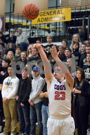 Sam Buckner for Shaw Media.<br /> Justin Peters of Genoa-Kingston shoots a 3 pointer during their boys basketball regional semifinal game on Wednesday Mar. 1, 2017 at Sycamore High School in Sycamore.  Sycamore won 64-56.