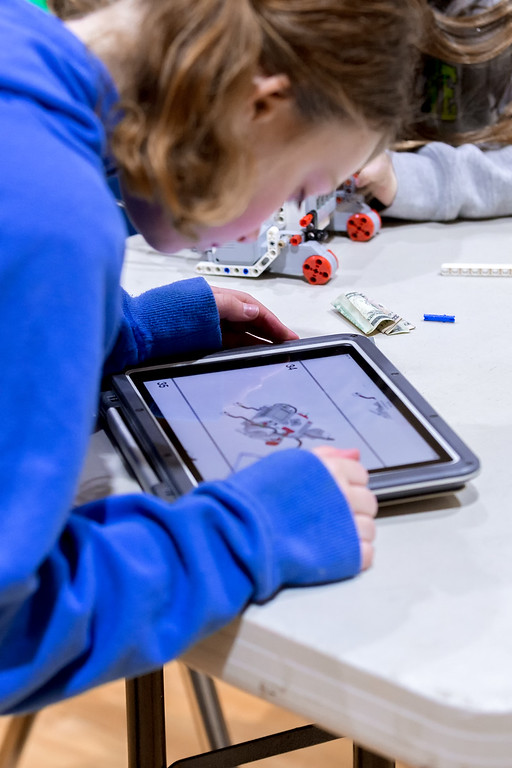 . Carrie Garland � The News-Herald <br> Students used iPads as controllers for robots they built at Andrews Osborne Academy\'s third annual CCIS Robotics ThrowDown March 3, 2018 in Willoughby.