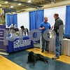 Chris McGuire (left), owner of Dog Guard Out of Sight Fencing, speaks with local resident Kyle Butz, of Genoa, at the Genoa Area Chamber of Commerce Home and Business Expo on Saturday at Genoa-Kingston High School.