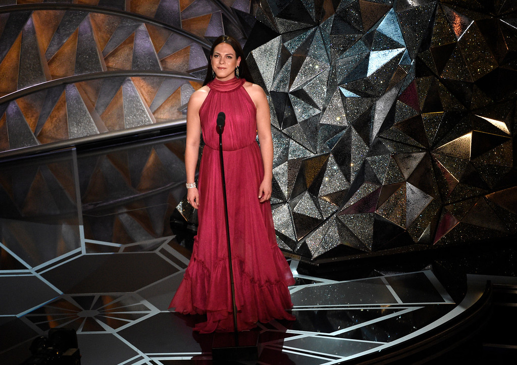 . Daniela Vega introduces a performance by Sufjan Stevens at the Oscars on Sunday, March 4, 2018, at the Dolby Theatre in Los Angeles. (Photo by Chris Pizzello/Invision/AP)