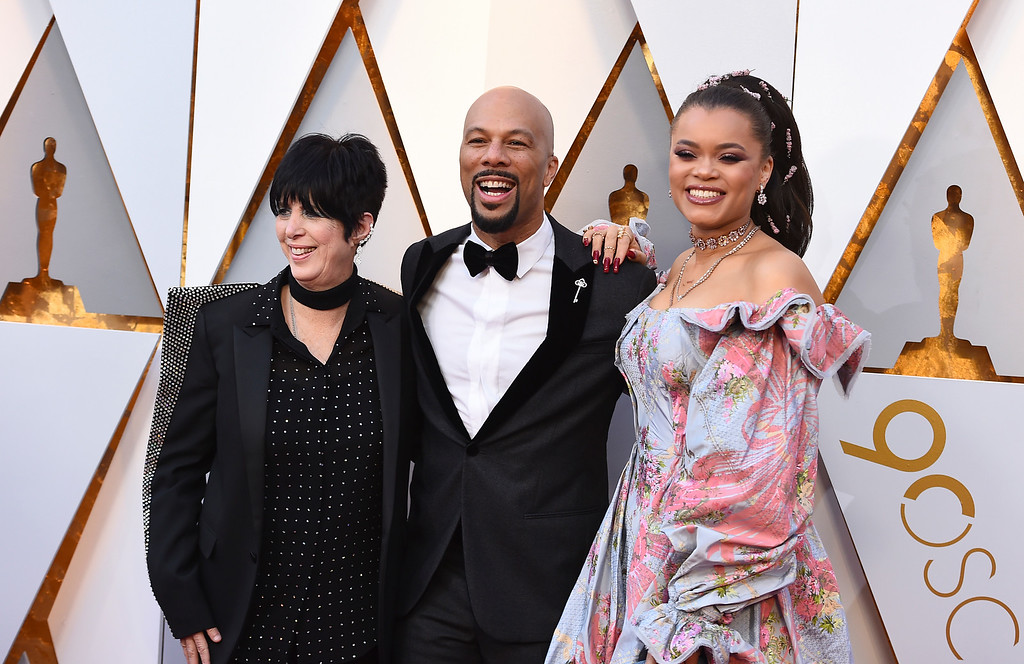 . Diane Warren, from left, Common, and Andra Day arrive at the Oscars on Sunday, March 4, 2018, at the Dolby Theatre in Los Angeles. (Photo by Jordan Strauss/Invision/AP)