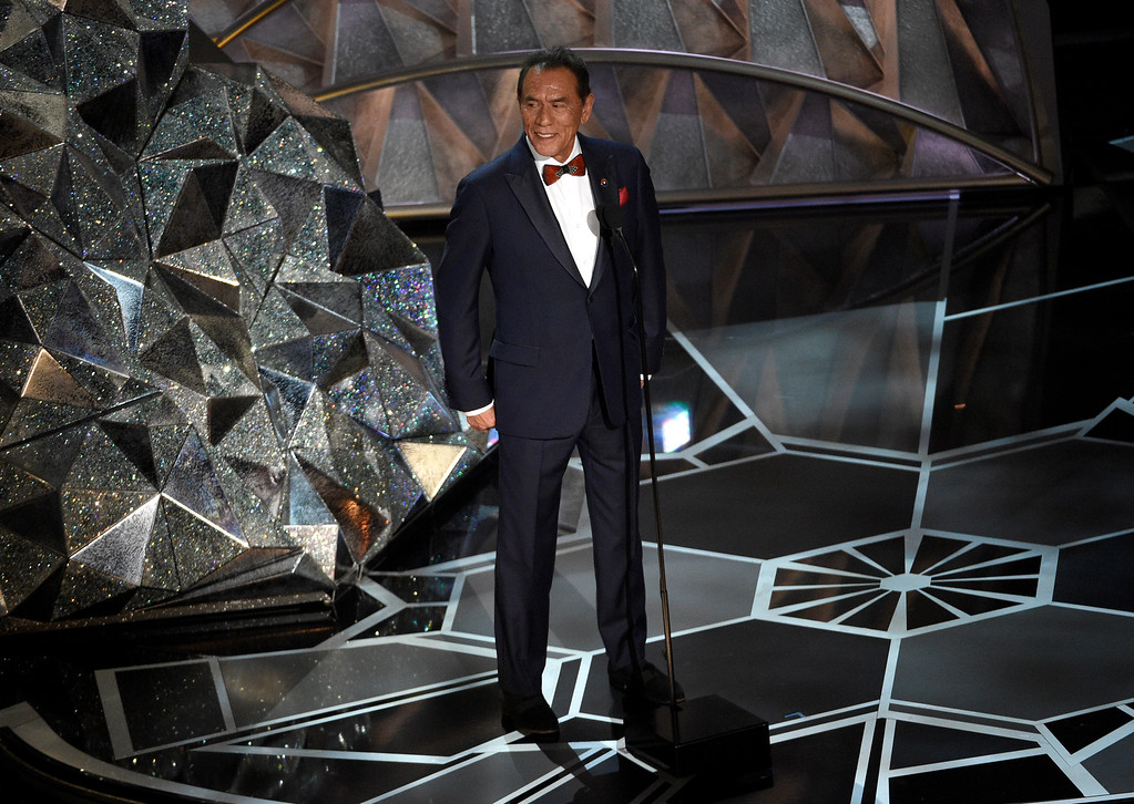 . Wes Studi introduces a tribute to films that honor service in the military at the Oscars on Sunday, March 4, 2018, at the Dolby Theatre in Los Angeles. (Photo by Chris Pizzello/Invision/AP)