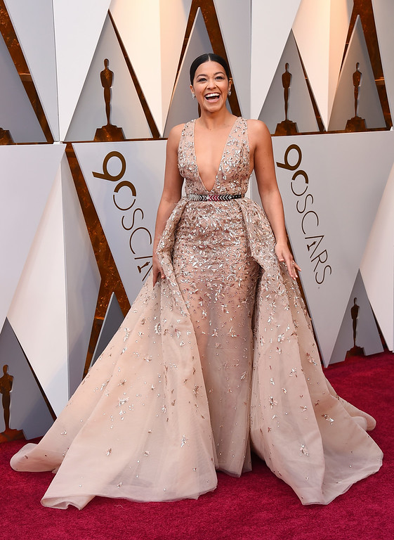 . Gina Rodriguez arrives at the Oscars on Sunday, March 4, 2018, at the Dolby Theatre in Los Angeles. (Photo by Jordan Strauss/Invision/AP)
